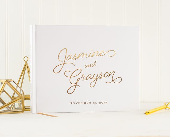 Wedding Guest Book Gold Foil landscape horizontal wedding guestbook gold foil wedding album sign in book personalized names photo guest book