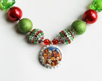 Christmas Nativity Bottle Cap Necklace, Bubblegum Beads, Chunky Beads, Child Necklace, Special Occasions, Holly Babes