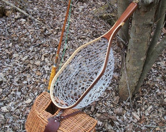 Spring Special; Catch & Release Style Walnut/Ash 2-Ply handcrafted wooden trout landing net with rubber netting; Shipped Priority Mail