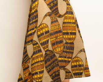 Christian Dior late 1960's eccentric geometric motif linen knitting long skirt