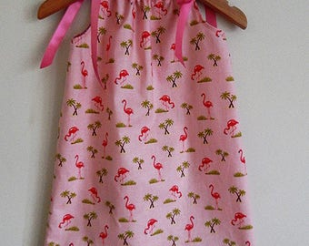 Pink Flamingo with palm summer dress trees, beautiful baby, toddler or girls dress with Ribbon Shoulder Ties - 6-12Months ready to ship