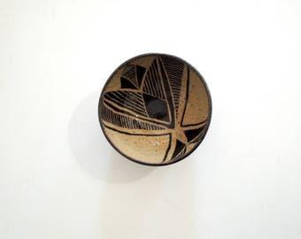 Black and tan geometric stoneware bowl, small size
