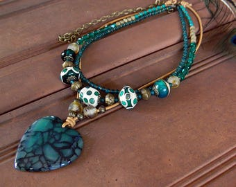 Green Bohemian Statement necklace, Green Artisan Lampwork necklace,  Green Heart Pendant necklace, Boho necklace, Layered Bib Assemblage