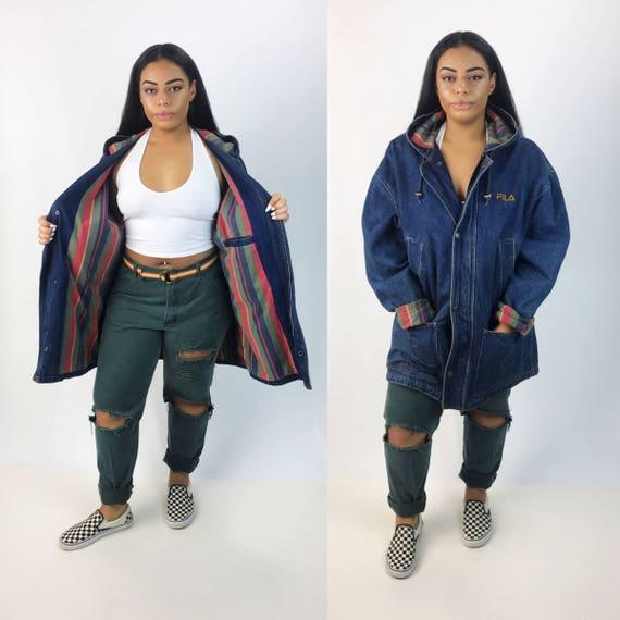 90's FILAS Hooded Denim Jacket XL Plus Adult Unisex Outerwear - Zip Up Coat With Hood Heavyweight Street Wear Slouchy Coat Printed Lining