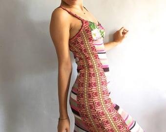Christian Lacroix dress bodycon sundress vintage Lacroix Bazar knit wiggle dress stripes sequins lurex patchwork dress striped sun dress