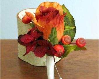 "Burnt Orange Rose Boutonniere, Burgundy Red Hydrangea and Berries, Autumn, Fall Wedding, Groom, Groomsmen, Ushers, ""Devoted"""