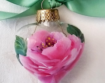 Pink Rose Heart Ornament ~ OOAK ~ Gifts for February ~ Shabby Rose Ornament ~ Handpainted Roses