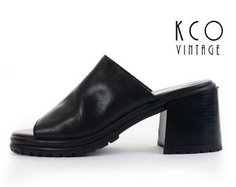 Platform Sandals 9 Black Mules Chunky Heels Platform Shoes Minimalist Black Leather Mules 90s Vintage Women's Size US 9 / UK 7 / EUR 39 - 40