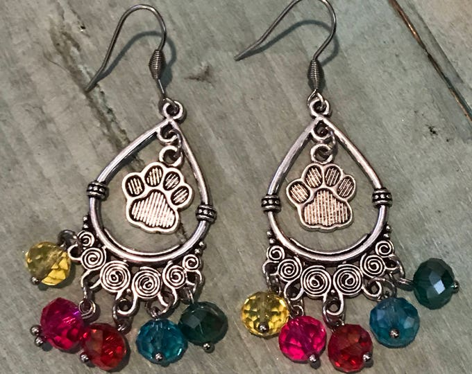 Rainbow Bridge puppy paw print earrings with crystals