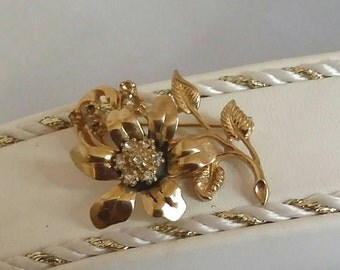 Vintage gold flower brooch gold flower brooch rhinestone flower brooch vintage brooch womens jewelry