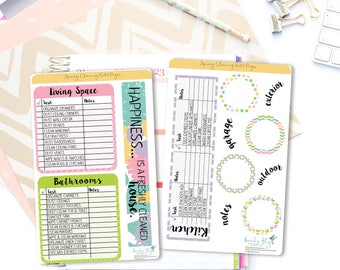 Spring Cleaning Note Page Stickers / Cleaning Tracker Note Page Stickers for Erin Condren / Cleaning Stickers / Cleaning Planner Stickers
