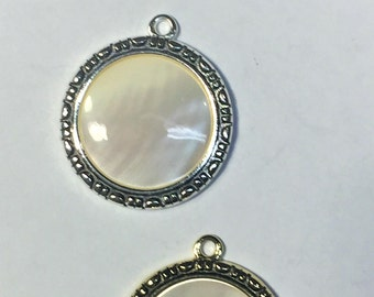 White Mother of Pearl Pendant, Silver or Gold