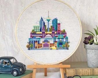 Pretty Little Berlin - printed version - Satsuma Street Modern Cross Stitch Pattern