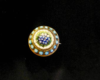 Vintage Micro Mosaic Brooch/ Glass Mosaic Set in Brass
