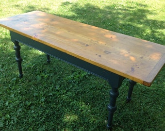 Vintage Hand Crafted Farm Table Plank Top Rustic House Large