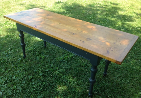 Vintage Hand Crafted Farm Table, Plank Top Table, Rustic Farm House Table, Entryway Table, Colonial Style, Narrow Primitive Dining Table
