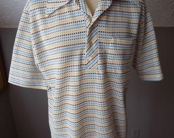 Vintage Short Sleeve Polo Shirt with Coloful Dots