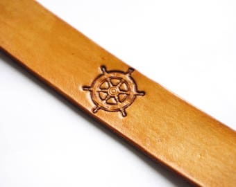 Leather Bookmark | Ship's Wheel
