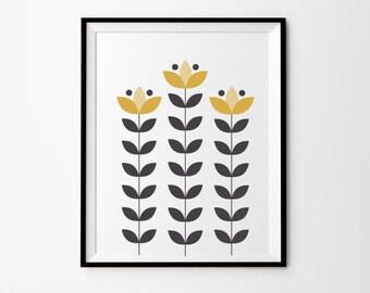 Mustard Flower Art, 5 x 7 in, 8 x 10 in,  11 x 14 in, Mustard, Gray, Yellow Decor, Instant Download, Yellow Wall Art, Art Prints