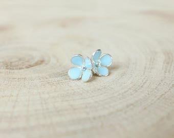 Sky blue flower Forget-me-not silver earrings Floral earrings Christmas gift for friend Gift for mom Gardening gift Christmas sister gift