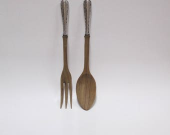 Vintage Sterling Silver Handles Salad Serving Set, Fruit Rose or Teak Wood Spoon Fork Servers