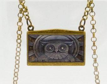 Deco Owl Pendant Necklace, Library of Congress Owl Necklace, Art Deco Necklace, Owl Pendant, Antique Brass and Pewter Owl Pendant Necklace