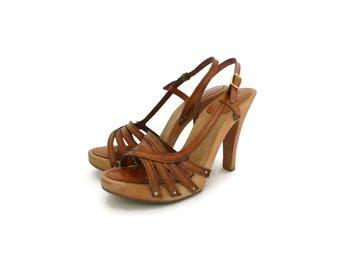 70s Sandals Wood Leather Platform Heels Size 5 Bare Traps Hippie Boho Disco 1970s Open Toe Stilettos