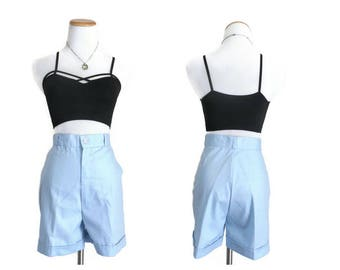 70s Shorts High Waisted Pastel Blue Short with Pockets Size Small 1970s Summer Cuffed High Waist Rise Flat Back Cute