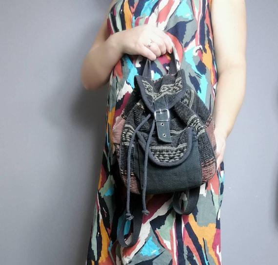 90s hippie rucksack / boho rucksack purse / 90s woven backpack purse / retro ethnic rucksack / fabric rucksack handbag