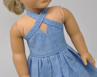 Blue Chambray Sleeveless Dress made to fit American Girl Doll 18 Inch Doll Clothes