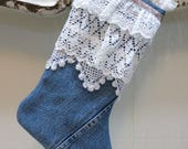 Vintage Levi Denim and Antique Lace Christmas Stocking To Die For
