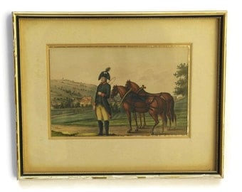 Antique Equestrian & Military Art. 19th Century Soldier in Uniform Painting.
