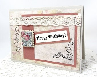 Happy Birthday Card - Shabby Chic Birthday Card - Rustic Chic - French Vintage - Ivory Lace Trim - Vintage Rose - Blank Card - Birthday Card