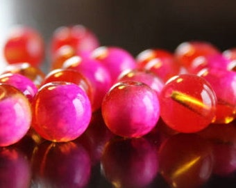 20 glass beads, 10 mm, round and smooth, transparent baking painted, hole 1 mm, orange and hot pink