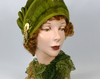 Patterned Fur Felt Cloche Hat - Shades of Green and Brown - Vintage Hood - Side Pleat - Natural Stone & Wood Accents - Hand Made