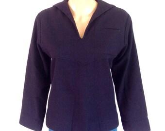 1940's Navy Blue Wool Sailor Uniform Top Sz. S
