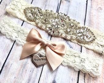 Wedding Garter Set No slip, Bridal Garter Set, Custom Wedding Garter, Blush Wedding Garter, Garter Set Blush, wedding garter rose gold