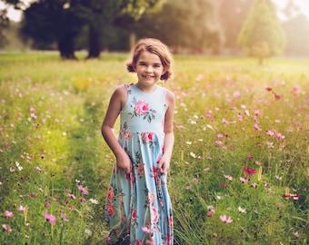 Girls' Pink Roses on Blue Bespoke Dress