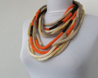 20% OFF SALE -Knit Scarf Necklace, Loop scarf, Infinity scarf, Neck warmer, Knit scarflette, in orange, brown, beige E027