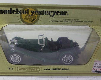 Vintage Matchbox Yesteryear 1:38 scale replica 1936 Jaguar SS 100 British Green New in Box.