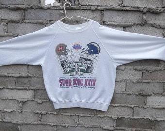 Vintage Sweatshirt 1990s Super Bowl 49ers Chargers 1995 Large Athletic Sports Fan Wet Coast USA Memorabilia Distressed Miami Florida