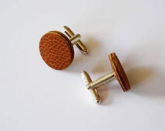 Leather cufflinks, Brown leather accessory, Leather anniversary men, Round cuff links, Leather gift for dad, Groomsman gift,Fathers day gift