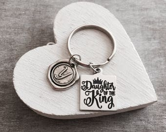 Daughter of the King, Gifts, Scripture, Faith, Religious, Christian, Bible Verse, Silver Keychain, Silver Keyring, Healing, Silver Jewelry