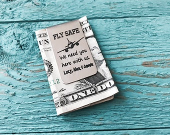 FLY SAFE, Flight Attendant, Aviator, Pilot, Aeroplane, Plane, Engraved, Money clip, Money wallet, Keepsake, Customized, Personalized, Gifts