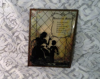 Vintage Black Silhouette, Shadow Picture - Wonderful Mother - Shadow or Silhouette Art with Convex, Bubble Glass & Metal Frame