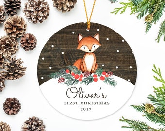 Baby's First Christmas Ornament, Personalized Woodland Fox and Snowflakes
