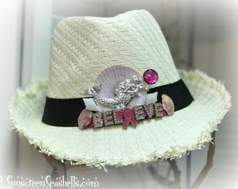 "Mermaid ""Believe"" Fedora ~ Breast Cancer Support Fedora ~ Pink Power Fedora"