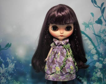 Blythe Dress Vintage Inspired Bird Purple Scalloped Edge Blythe Doll Clothes Outfit Pullip Pure Neemo S Licca