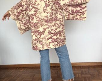 Stunning vintage yellow silk kimono robe for bride or bridesmaids