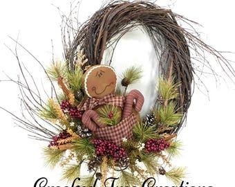 Gingerbread Wreath, Christmas Wreath, Holiday Wreath, Holiday Door Decor, Christmas Decor, Christmas Wreaths, Gingerbread, Gingerbread Decor